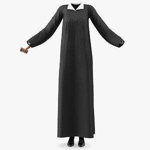 judicial robe gavel 3D