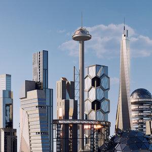 3D sci-fi buildings model