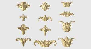 set vertical acanthus leaves 3D model