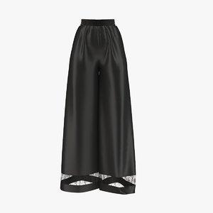 3D sleep black pants model