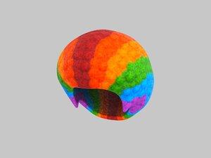rainbow afro hair 3D
