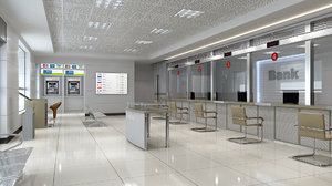 bank lobby interior 2 3D model