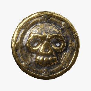 3D golden coin skull model