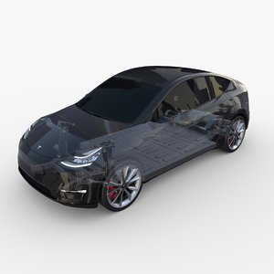 3D tesla y rwd chassis model