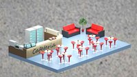 Low-poly isometric cafe zone