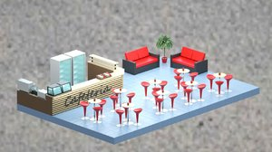 low-poly isometric cafe zone 3D model