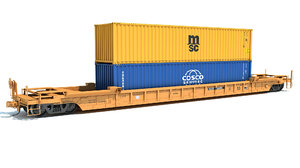railroad double stack car 3D