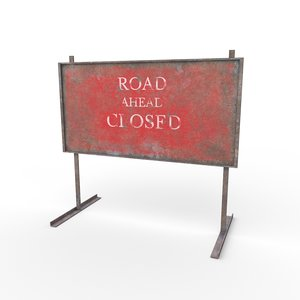 3D warning road signs - model