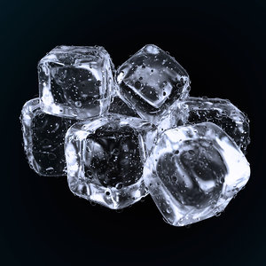 ice cubes water droplets 3D model