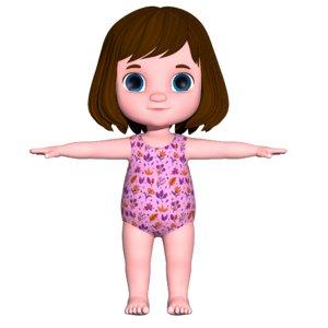 3D girl baby cartoon