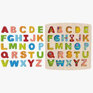 3D model wood puzzle letters