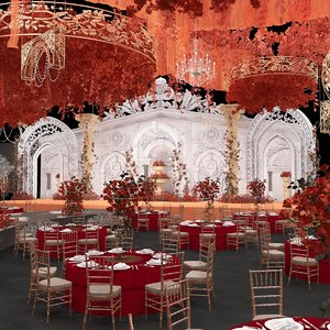 3D banquet hall dining sets