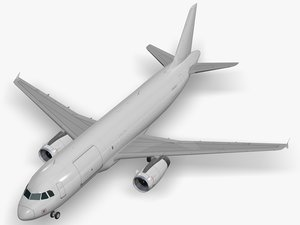 3D airbus aircraft generic white