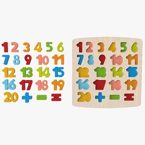 wood puzzle numbers 3D
