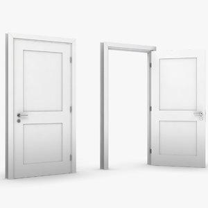 3D white door model