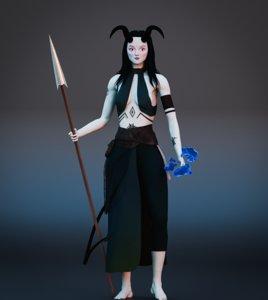 ocean girl fantasy character 3D