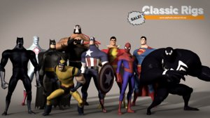 classic superhero pack 3D model