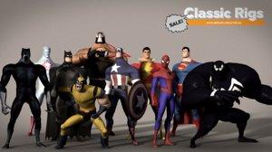 classic superhero pack 3D model