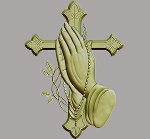 cross praying hands 3D model