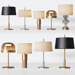 5 table lamps set 3D model