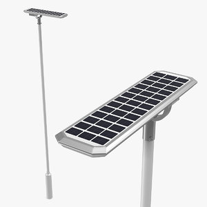 solar garden light post 3D model