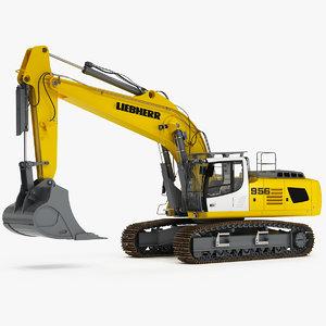 3D model tracked excavator liebherr r956