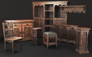 3D model furniture gothic 3