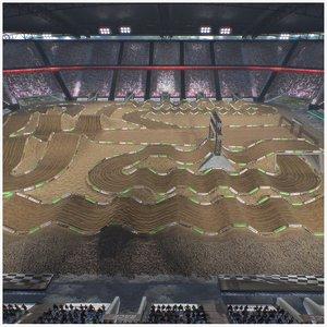 3D stadium cross race track model