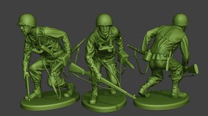 soldier ww2 engineer crouch model