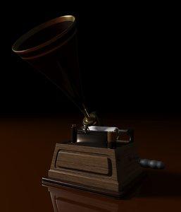 3D vintage phonograph model