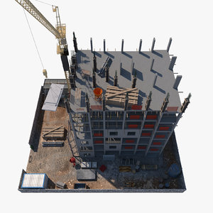 3D modeled construction scene