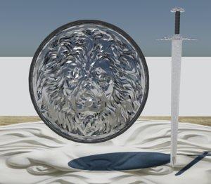 3D model shield sword