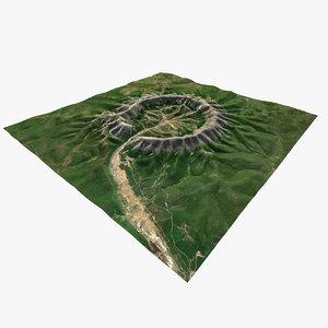 kodyor massive crater mountain 3D