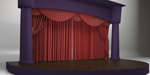 theater scene red curtains 3D model