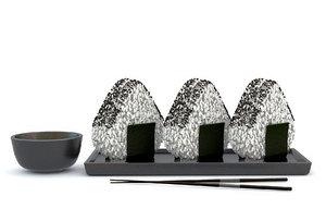3D onigiri food snack