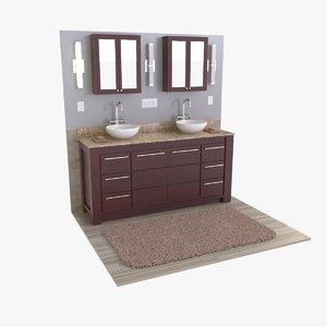 vessel sink vanity 3D