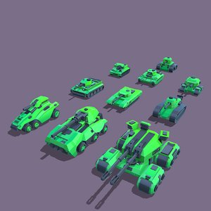 stylized tanks pack 3D