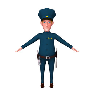 policeman cartoon 02 3D