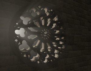 3D model classical rose window
