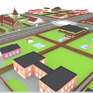 3D blocks suburban houses