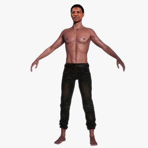 3D black african man