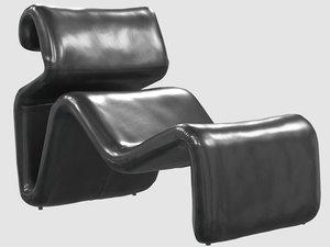etcetera lounge chair black leather 3D model