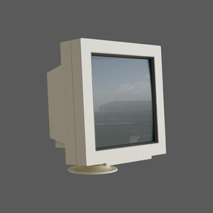 3D old computer monitor octane