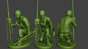 3D soldier ww2 engineer crouch2 model