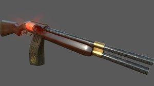 3D steampunk shotgun