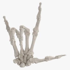 3D model human hand bones white