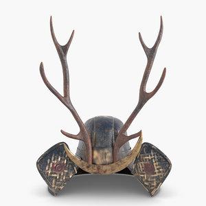 3D modeled helmet samurai model