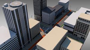 downtown city block street 3D