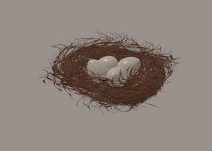 3D model brown bush egg