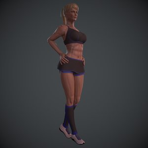 rigged athletic female hair 3D